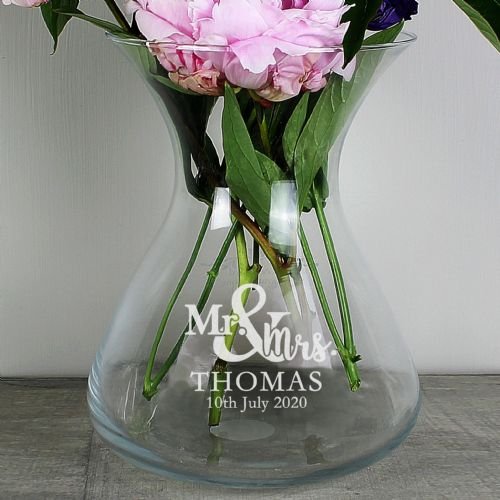 Personalised Me & Mrs 22cm Glass Vase
